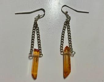 Point Crystal Chain Dangle Earrings