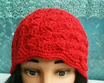 Crochet hat in bright red