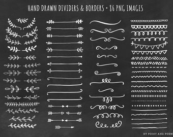 Dividers Borders Laurels Arrows - Hand Drawn Chalkboard Clip art - Doodle Clipart 86 png images
