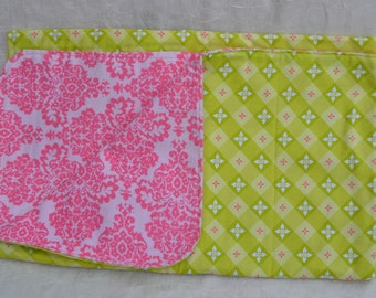 Bright Lime Green and Pink Baby Girl Receiving Blanket
