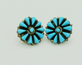 Sterling Silver and Turquoise Pierced Earrings
