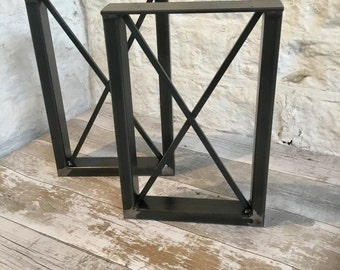 2 X Handmade Blackened Steel Seat Bench Pedestal Legs Industrial Style 40cm x 32cm With Cross Detail