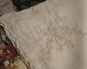 Vintage   Handkerchief  Hand Embroidered, Drawn Work, with a Hand  Rolled Hem