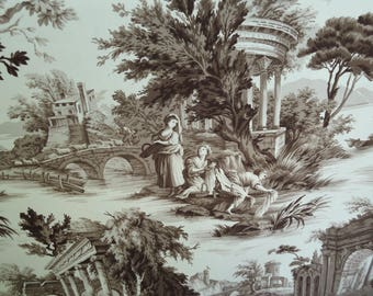 "P.Kaufmann ""Grand Toile"" Umber, Brown, Country, Architectural Sold by the yard"