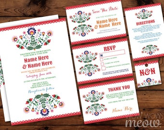 Fiesta Wedding Invitations Set Template Rustic Package Printable Invites Save The Date INSTANT DOWNLOAD Tags Mexican Personalize Editable