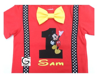 Red Mickey Mouse Disney Cake Smash Birthday Outfit baby boys Toddler Photo Prop Bow Tie Shirt Onesie 1st 2nd 3rd 4th