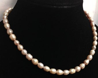 Vintage Light Pink Genuine Pearl Single Strand Necklace Easter Gift Jewelry
