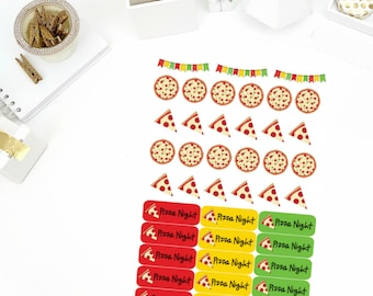 Pizza Night Stickers! Perfect for your Erin Condren Life Planner, calendar, Paper Plum, Filofax!