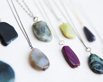Boho Stone Necklace, Earthy Stone Necklace, Create Your Own Boho Look, Layering Necklace, Bohemian Long Necklace, Girlfriend Gift, Jasper