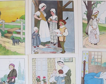 vintage Mother Goose fairy tale illustrations, vintage fairy tale gallery wall art