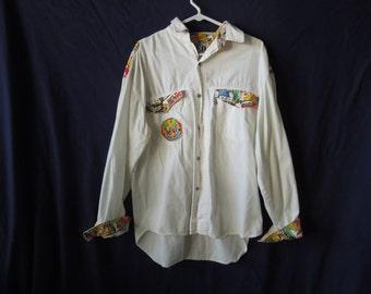SALE 90s Comic Book Pop Art Button Up Shirt