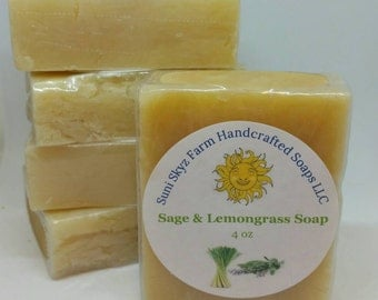 Sage and Lemongrass Soap - Dalmation Sage Soap - Lemongrass and Sage Soap - Handcrafted Sage and Lemongrass Soap