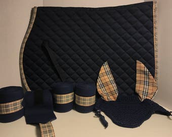 Tan plaid trimmed horse products