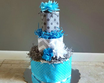 Diaper Cake Boy/ Diaper Cakes/ Blue & Grey Diaper Cake/ Chevron and Polka Dots/ Diaper Cake/