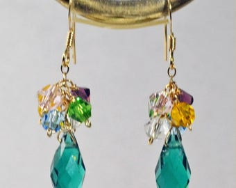 Swarovski Crystal 14K Yellow Gold Filled Earrings