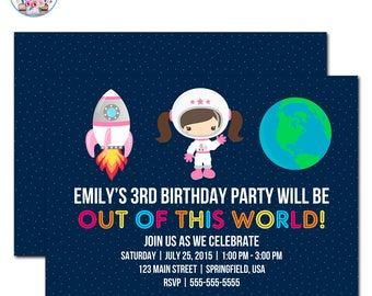 Outer Space Invitation, Outer Space Birthday, Editable Outer Space Invitation, Outer Space Birthday Party, Space Party Invitation