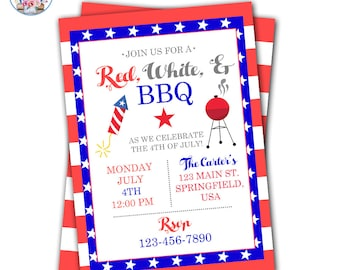 4th of July Invitation, Red, White, and BBQ Party Invite, 4th of July Party