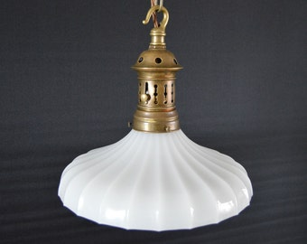 Vintage Jefferson Electric Opaque Glass Light Fitting