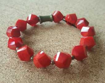 Large Red Faceted Glass Bead Stretch Bracelet with Bronze Accents  (201720B)