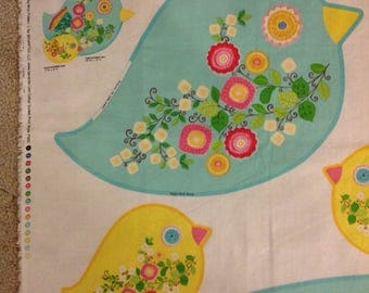 Sweet Tweet pillow panel bird fabric