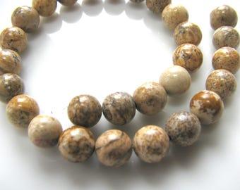 Jasper beads, Picture Jasper, 27 beads, 6mm, Jewelry supply B-1440