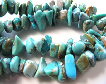 Turquoise chips, 16 inch strand, 5mm by 10 to 12mm, green, brown matrix, Jewelry supply B-1486