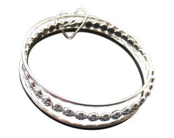 Heart Bracelet, Silver Bangle, Silver Bracelet, Triple Bangle, Silver Heart Bangle, Bangles, Heart Jewelry, Silver Heart