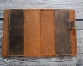 Leather notebook cover in Sweet Potato Brown Pull-up for 3.5 x 5.5 notebooks with pen holder