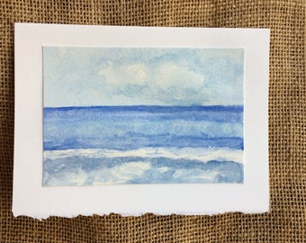 Watercolor Card, Original Watercolor, Seascape Painting, Seascape Watercolor, Special Occasion Card, Birthday Card, Thinking Of You Card,