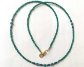 FREE Shipping Worldwide Afghan Natural Lapis Lazuli, Malachite Necklace with Tiny Green Glass Beads & Brass 17.7 inches Handmade