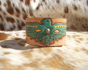 Custom Hand Tooled and Painted Thunderbird Leather Cuff