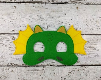 Dragon Children's Felt Mask  - Costume - Theater - Dress Up - Halloween - Face Mask - Pretend Play - Party Favor