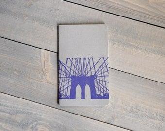 Gratitude journal, Moleskine Cahier, Brooklyn Bridge print, Yoga journal, Dream journal, Block print notebook, Yoga gift