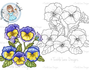 Pansy, Digi Stamp, Pansies, Plant, Gardening, Flowers, 3D Decoupage, Adult Colouring Page, A5 Sheet, Digital Stamp, Printable Flower, Crafts