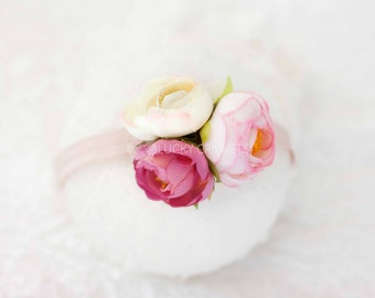 Baby Floral Headband, Floral Headband, Pink Flower Headband, Baby Flower Headband, Baby Girl Headband, Flower Headband, Flower Girl Headband