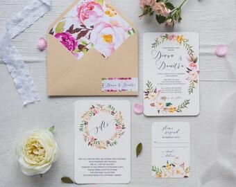 Wreath Wedding Invitation Set, Boho Wedding Calligraphy, Floral Wreath Invite, Bohemian Invite Set, Outdoor Wedding