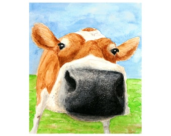 COW PRINT - Cow painting, Cow pictures, Cow art, Farm art, Farm painting, Cow print, Farm animal prints, Cow paintings, Cow wall art, Cow