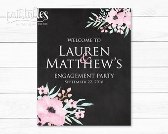 Engagement Party Signs Printable, Rustic Engagement Party Banner, Engagement Welcome Sign, Floral Engagement Banner, Engagement Decorations
