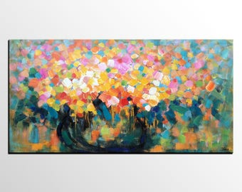 Abstract Flower Painting, Original Oil Painting, Canvas Painting, Dining Room Wall Art, Abstract Art, Still Life Painting, Abstract Painting