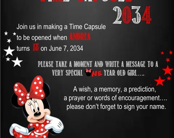 Minnie Mouse Time Capsule Sign for a First Birthday