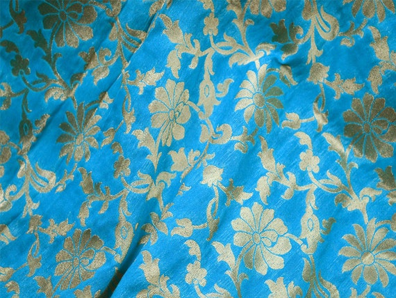 Brocade fabric in turquoise blue banarasi fabric indian silk - Telas de la india online ...