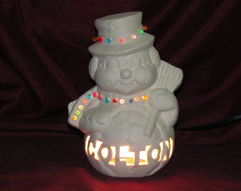 Ceramic Bisque U-Paint Snowman Night Light lamp with custom names Unpainted Ready To Paint DIY Your Name Here