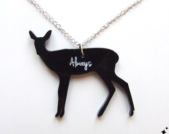 Harry Potter Always said Snape Necklace - doe patronus deer deathly hallows lily necklace