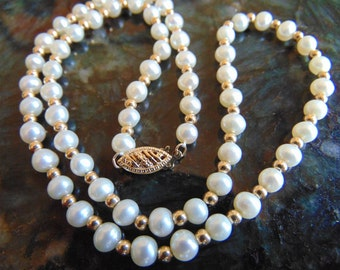 Pearls of Wisdom, 14K Gold and Pearl Necklace, Free Pearls! Read Details