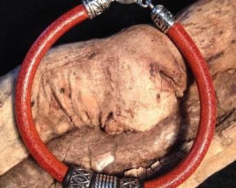 Rust colored leather bracelet