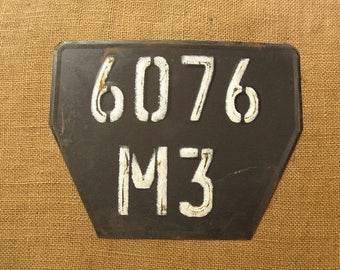 Vintage Soviet Plate Plaque, Wall Decor, Outdoor Decoration, Soviet Car Number Plaque, Military Car Number, Car Numbers 60s
