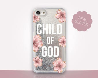 Child of God Glitter Phone Case Clear Case For iPhone 8 iPhone 8 Plus - iPhone X - iPhone 7 Plus - iPhone 6 - iPhone 6S  iPhone SE  iPhone 5