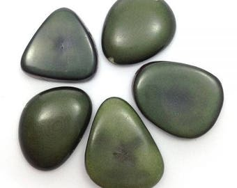 Tagua disc beads, dark olive, 25 mm, 5 pieces, P