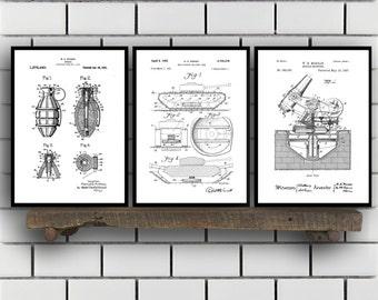 Military Patent Prints - Set of 3 - Grenade - Military Patent, Military Poster, Military Blueprint, Military art sp351