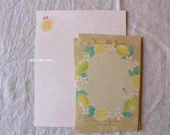 Lemon and Bee Letter Set | Bee Letter Set | Japanese Letter Writing Set -  8 letter papers - 4 envelopes - 10419B